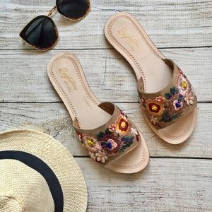 Seychelles Floral Embroidered Slide Sandals
